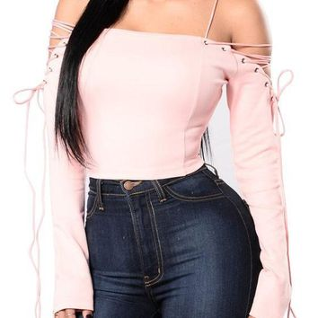 Pink Plain Bandeau Boat Neck Off-shoulder Lace-up Crop T-shirt