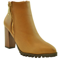 Womens Ankle Boots Lug Sole Chunky High Heel Zipper Closure Booties Tan