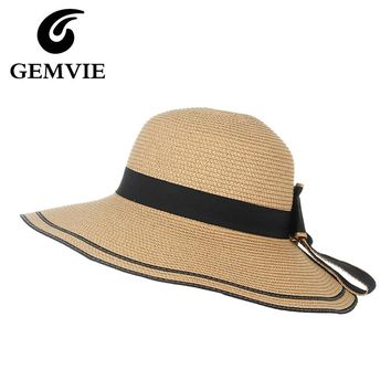Casual Striped Straw Hats for Women Summer Hats Wide Brim Bowknot Sun Hat Beach Visor Caps