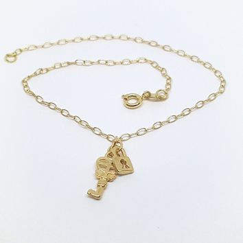 1-0012-h2 Gold Overlay Lock and Key Charm Anklet, 10""