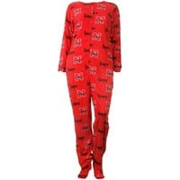 Nebraska Cornhuskers Ladies Fleece Scoreboard Union One-Piece Footed Sleep Suit - Red