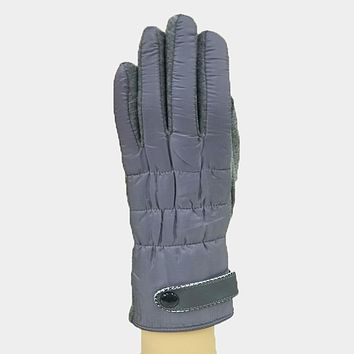 Solid Button Detail Fur Lining Touch Gloves