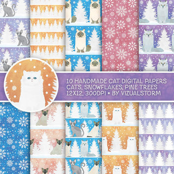Winter Cat Digital Paper, Winter Pet Scrapbooking Cute Holiday Kitty Cat Backgrounds, Snowflakes, Christmas Cats, Pine Trees White Christmas