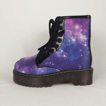 Galaxy boots. Custom galaxy shoes. Handmade galaxy shoes. Gothic goth shoes. Rockabilly bohemian hippy hippie boho steampunk women boots