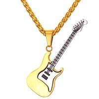 New Electric Guitar Pendants & Necklaces Black Gun/Gold Pendants