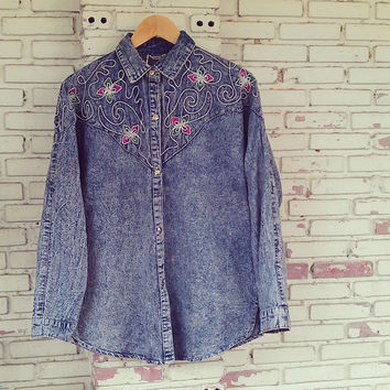 Vintage Oversize Embellished Acid Wash Jean Shirt / Acid Wash Denim Shirt