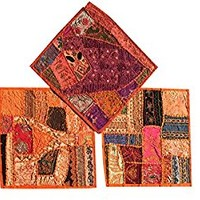 Boho Decorative Set Of 3 Indian Throw Pillow Cases Cotton Orange Embroidered Patchwork Cushion Cover 16 x 16