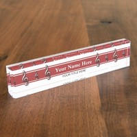 Red Treble Clef Music Name Plate
