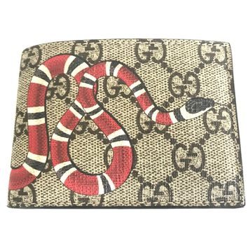 GUCCI Men's Kingsnake print GG Supreme wallet Web Canvas Bi-fold Wallet ITALY