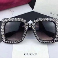 NEW Authentic*Gucci* Sunglasses 1832 Women's Black / Gray Gradient Crystals