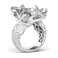 A Museum Perfect 14K White Gold 2.6CT Russian Lab Diamond Mermaid Engagement Promise Wedding Ring