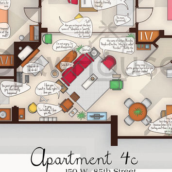 SALE- How I Met Your Mother Apartment - Famous TV Show Floor Plan - Art Poster for Residence of Ted Mosby with speechbubbles - Wall Decor