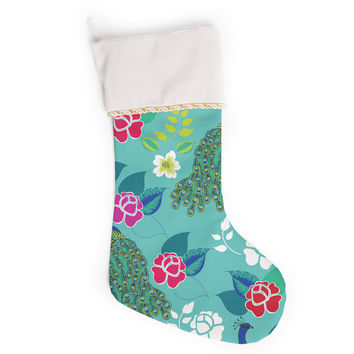 "Anneline Sophia ""Mexican Peacock"" Teal Rainbow Christmas Stocking"
