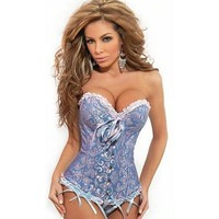 Women Sexy Satin Corset Brocade Floral Bustier Top Lace Up Back Lingerie