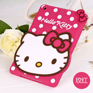 Fashion 3D Cute Hello kitty Soft silicone Rubber Cases Cover For Apple ipad Air 2 Ipad6 Air2 KT Case For Ipad 6 Coque Fundas