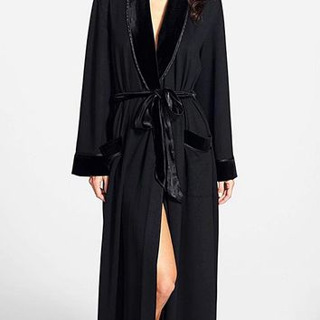 Luxurious Black French Terry/Velvet Long Robe (Small only)
