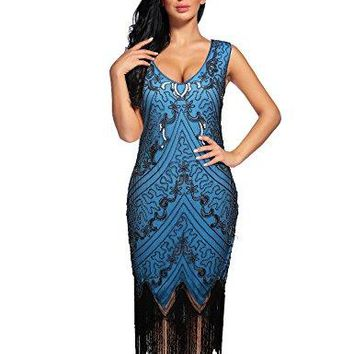 Women's Flapper Dress 1920s Sequin Fringed Great Gatsby Dress