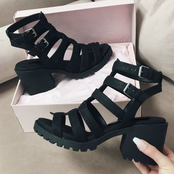 Monica Distressed Black Heeled Sandals