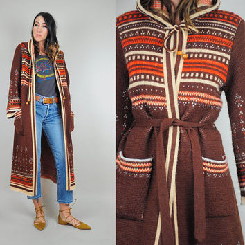 70's Nordic hooded maxi sweater coat