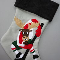 Hockey Moose Christmas Stocking