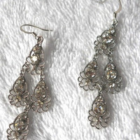 Silver Tear Drop Findings Pierce Earrings