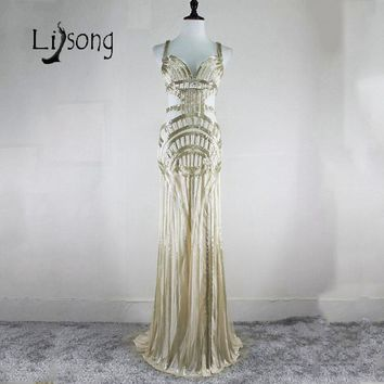 High-end Handmade Prom Dresses Long Dubai Beaded Cut Out Sexy Red Carpet Formal Dress Gowns Celebrity Women Modern Maxi Gowns