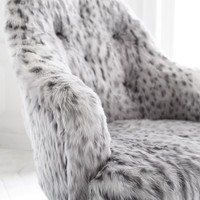 Gray Leopard Faux-Fur Tufted Desk Chair
