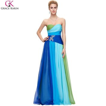 Ombre Prom Dresses Grace Karin Strapless Chiffon Robe De Soiree Long Formal Gowns Rainbow Elegant Wedding Party Dress Plus Size