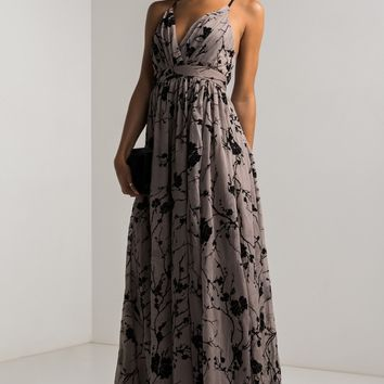 Plunging Sweetheart Ruffled Crepe Crisscross Back Floral Maxi Dress in Grey