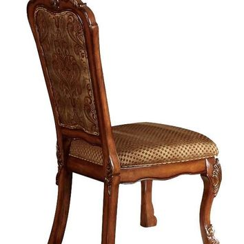 Set of 2 Wooden Side Chair , Cherry Oak Brown