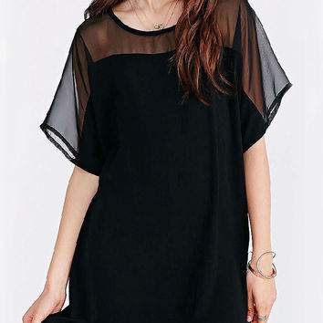 Black Mesh Short Sleeve Chiffon Loose Mini Dress
