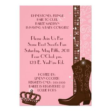 RHINESTONES, FRINGE & PINK COWGIRLS Invitation from Zazzle.com