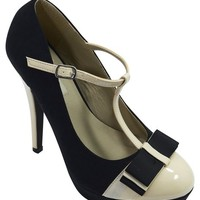Vintage Inspired Retro Pin-up Black & Cream Two Tone Bow Accent T-strap Mary Jane Platform Stiletto Pumps