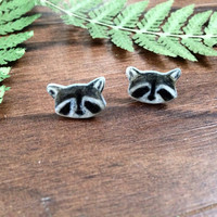 Raccoon post earrings, animal earrings, raccoon earrings, raccoon jewelry, wildlife earrings