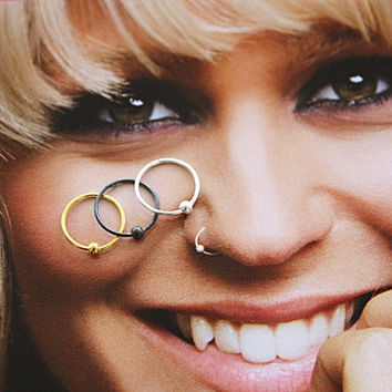 Set of DOT NOSE RINGS, Nose Hoop Ring, Nose Piercing, Best Friend Gift, Rose Gold Nose Ring , Couples Gift, Thin Nose Hoop, Silver Nose Ring