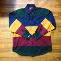 Vintage 90's Tommy Hilfiger Rare Color Block Shirt Jersey Jacket Windbreaker L