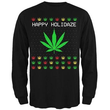 PEAPGQ9 Pot Leaf Rasta Happy Holidaze Holidays Ugly Christmas Sweater Mens Long Sleeve T Shirt