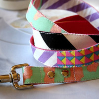 Striped Leopard Patchwork Dog Leash 4ft