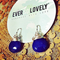 navy blue and silver earrings - gemstone and silver earrings - something blue