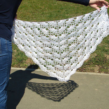 White wrap, womens shawl, triangle shawl, soft crochet lace shawl, bridesmaid gift, bridal shawl, wedding