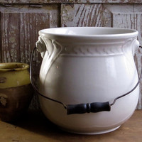 Antique Ironstone Slop Jar, Chamber Pot, Vase, Waste Bowl, White Iron Stone, Wooden Handle, Extra Large, Cottage Farmhouse Decor