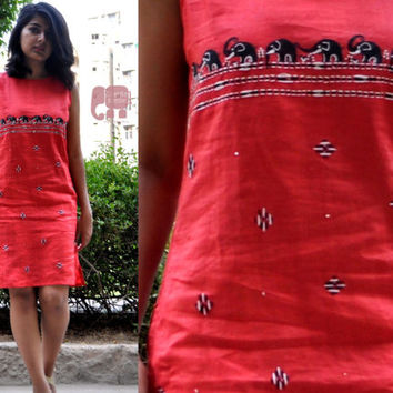 red shift dress-womens shift dress-womens gift-linen women clothing-women clothing-bridesmaid gift-hand embroidered - hand painted