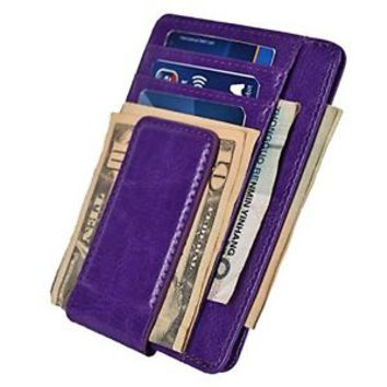 Mens Leather Money Clip Slim Wallets Front Pocket Magnetic ID Credit Card Purple