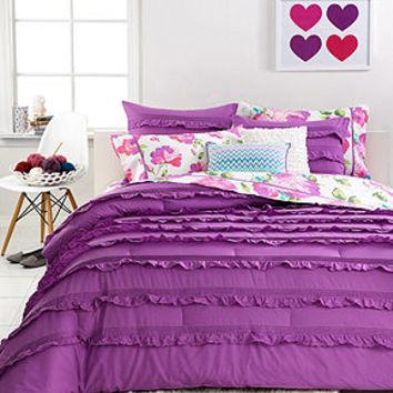 Seventeen Bedding Eva Eyelet Purple 3 Piece Comforter Sets