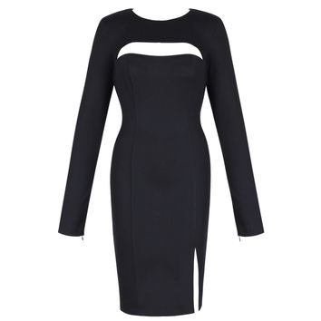 Black Long Sleeve Cutout Bandage Dress