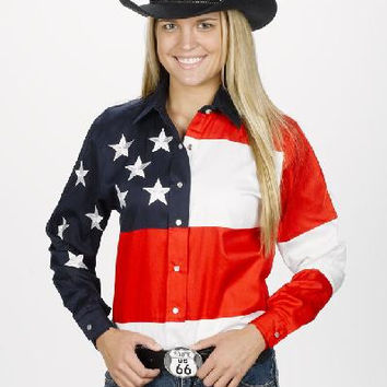 Womens Western Shirt Arena Wear Stars and Stripes