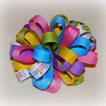 Big Sister Bow ~ Sister Hair Bow ~ Colorful Loopy Bow ~ Colorful Sister Bow ~ Small Loopy Bow ~ Loopy Headband Bow ~ Pink Sister Bow