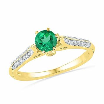10kt Yellow Gold Women's Round Lab-Created Emerald Solitaire Diamond Ring 5/8 Cttw - FREE Shipping (US/CAN)