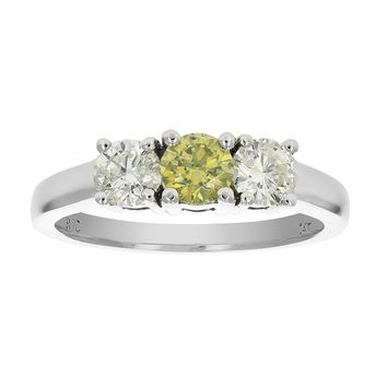 0.40 Carats 14K White Gold 3 Stone Yellow and White Diamond Ring (1 CT)