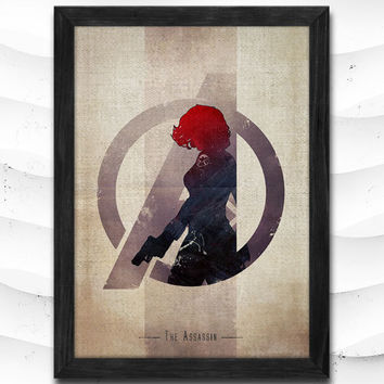 Black Widow Watercolor Print Avengers Poster Art Print Baby Room Illustrations Room Super Hero Nursery Kids Room Gift Linen Poster CAP72